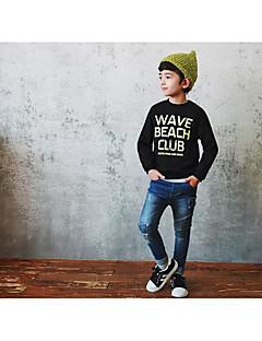 Drengens Hættetrøje og sweatshirt Bomuld Trykt mønster Casual/hverdag Efterår Sort