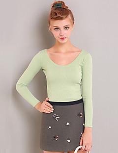 Dame Simpel I-byen-tøj Normal Pullover Ensfarvet,Grøn Rund hals Langærmet Bomuld / Spandex Efterår Medium Mikroelastisk