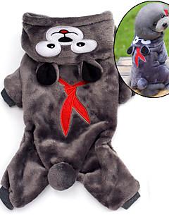 Cat / Dog Costume / Hoodie / Pajamas Brown / Gray Dog Clothes Winter / Spring/Fall Cartoon Cute / Cosplay / Keep Warm