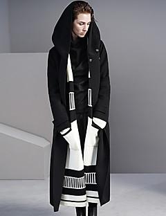 Damen Solide Einfach Ausgehen / Lässig/Alltäglich Mantel,Winter Mit Kapuze Langarm Schwarz Dick Wolle