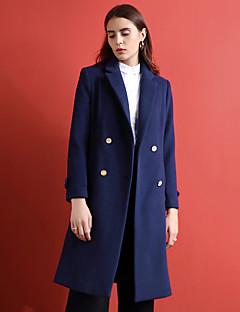 Damen Solide Einfach Ausgehen Mantel,Winter Gekerbtes Revers Langarm Blau Mittel Wolle / Polyester