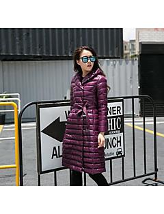 Damen Daunen Mantel,Lang Street Schick Lässig/Alltäglich Solide-Nylon Weiße Entendaunen Langarm Rosa / Rot / Schwarz / Lila Mit Kapuze