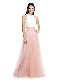 LAN TING BRIDE Floor-length Jewel Bridesmaid Dress - Color Block Two Pieces Sleeveless Lace Tulle