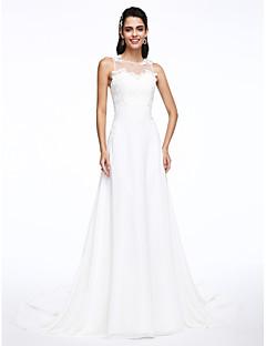 Lanting Bride® Trapèze Robe de Mariage  Traîne Tribunal Bijoux Mousseline de soie avec Appliques
