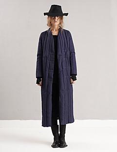 Damen Daunen Mantel,Lang Einfach Ausgehen / Lässig/Alltäglich Solide-Polyester / Nylon Weiße Entendaunen Langarm Blau V-Ausschnitt