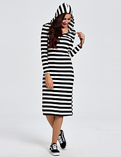 1287 Women's Going out / Casual/Daily Simple A Line DressStriped Hooded Midi Long Sleeve Black Cotton