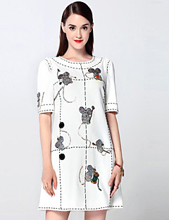 Mary Yan & Yu  Women's Going out Sophisticated A Line Dress,Embroidered Round Neck Above Knee Short Sleeve White Cotton