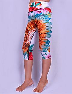 calças de yoga 3/4 calças justasRespirável / Secagem Rápida / Design Anatômico / Compressão / Anti-Derrapagem / Redutor de Suor /