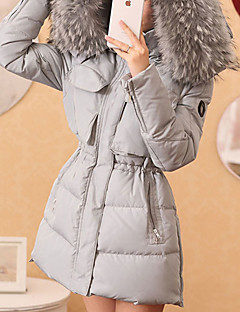 Women's Long Down Coat,Simple / Cute / Street chic Plus Size / Casual/Daily / Formal Solid-Polyester White Duck Down Long SleeveRound