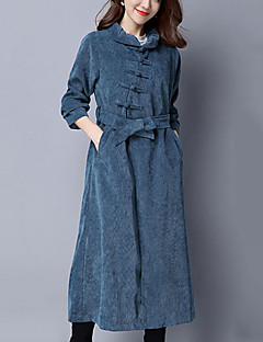 אחיד / פסים צווארון פיטר פן וינטאג' יום יומי\קז'ואל מעיל נשים,כחול / שחור שרוול ארוך סתיו / חורף עבה אחרים