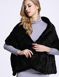 Damen Solide Anspruchsvoll Lässig/Alltäglich Pelzmantel,Winter V-Ausschnitt ¾-Arm Schwarz / Grau Andere