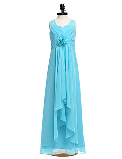 Lanting Bride® Floor-length Chiffon Junior Bridesmaid Dress Sheath / Column Straps with Flower(s)