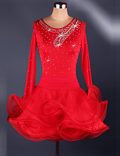Latin Dance Dresses Women's Performance Polyester Organza Crystals Rhinestones Pleated Latin Dance Long Sleeve High