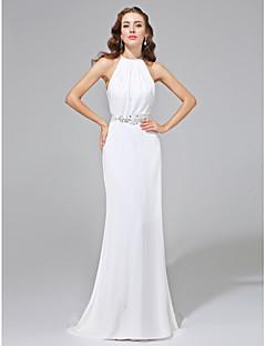 Lanting Bride® Fourreau / Colonne N/C Robe de Mariage - Classique & Intemporel Dos ouvert Traîne Brosse Bijoux Mousseline de soie avec
