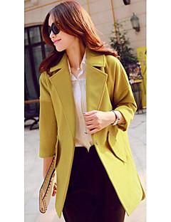 אחיד פשוטה יום יומי\קז'ואל מעיל נשים,ורוד / ירוק שרוול ארוך חורף בינוני (מדיום) צמר