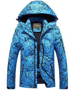 Men's Regular Down Coat,Simple Casual/Daily Print-Polyester White Duck Down Long Sleeve Blue / White