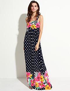 süß Kurve Frauen Strand / plus Größe Boho Swing Kleid, Druckband maxi ärmellos schwarz Polyester Sommer