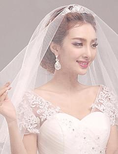 הינומות חתונה שכבה אחת צעיפי מרפק קצה פנינה טול