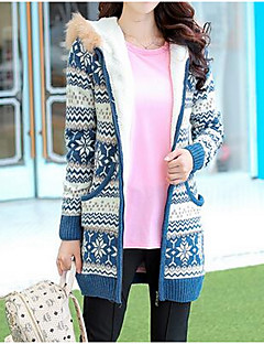 Women's Casual/Daily Cute CoatPrint Hooded Long Sleeve Fall / Winter Blue / Red / Black Faux Fur Thick Fleece Coat