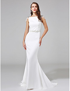 Lanting Bride® Trumpet / Mermaid N/A Wedding Dress - Elegant & Luxurious Open Back Court Train Bateau Stretch Satin withBeading / Sash /