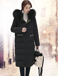 Women's Long Down Coat,Simple Casual/Daily Solid-Others White Duck Down Long Sleeve White / Black