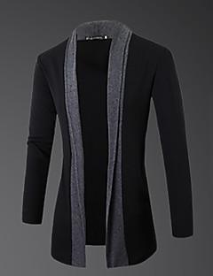 Men's Casual/Daily Simple Regular Cardigan,Color Block Gray Round Neck Long Sleeve Wool Spring Fall Medium Micro-elastic
