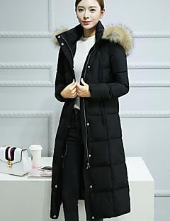 Damen Daunen Mantel,Lang Einfach Lässig/Alltäglich Solide-Baumwolle Weiße Entendaunen Langarm Schwarz Mit Kapuze