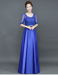 A-line Mother of the Bride Dress - Lace-up Floor-length Half Sleeve Satin with Sash / Ribbon