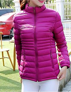 Damen Gefüttert Mantel,Kurz Einfach Lässig/Alltäglich Solide-Baumwolle Polypropylen Langarm Blau / Rot / Schwarz / Grün / Lila