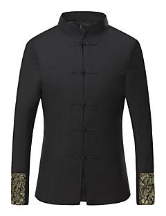 Heren Chinoiserie Herfst / Winter Jack,Nette schoenen Opstaand-Lange mouw Zwart Geborduurd Medium Katoen / Polyester