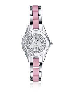 Dame Moteklokke Armbåndsur Hverdagsklokke Vannavvisende Stoppeklokke Quartz Legering Band Vedhend Armband Fritid Elegante klokker Rosa