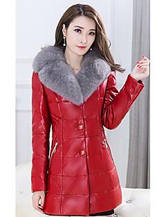 רגיל מעיל פוך מעיל נשים,אחיד סגנון רחוב / מתוחכם מידות גדולות פוליאסטר נוצות ברווז לבנות-שרוול ארוך עומד אדום / שחור / סגול