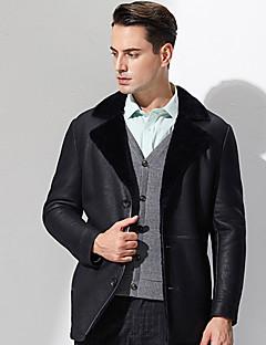 Heren Eenvoudig Winter Bontjas,Casual/Dagelijks Overhemdkraag-Lange mouw Zwart Effen Dik Polyester
