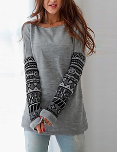 Women's Casual/Daily Simple Regular Hoodies,Geometric Gray Round Neck Long Sleeve Cotton Fall / Winter Medium Stretchy