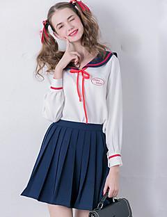 Damen Stickerei Niedlich Ausgehen Set Rock Anzüge,Hemdkragen Alle Saisons Langarm Weiß Polyester Mittel