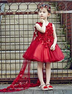 Plesové šaty Ke kolenům Šaty pro květinovou družičku - Tyl Bez rukávů Do V s Křišťály / Květina(y)