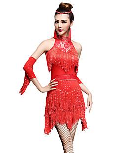 Dança Latina Vestidos Mulheres Actuação Náilon Chinês Nailon 3 Peças Sem Mangas Alto Vestido Luvas