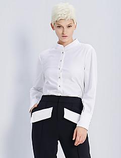 여성 솔리드 스탠드 긴 소매 셔츠,심플 데이트 / 캐쥬얼/데일리 화이트 면 / 나일론 / 스판덱스 봄 / 가을 중간
