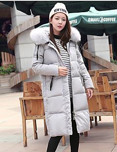 Casual/hétköznapi Nagy méretek Egyszerű Kabát-Női Egyszínű Hosszú Sportos kabátok Poliészter Fehér kacsapehely Hosszú ujj Fekete Szürke