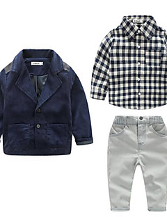Boy's Casual/Daily Plaid Suit & Blazer / Clothing SetCotton Spring / Fall Black