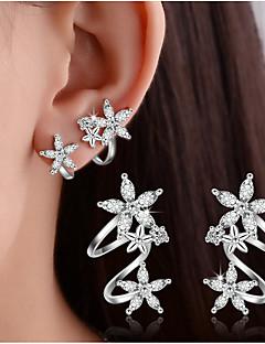 Naisten Niittikorvakorut Klipsikorvakorut Kristalli jäljitelmä Diamond Yksinkertainen Kaksoiskerros pukukorut Sterling-hopea Heart Shape