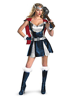 Cosplay Costumes Super Heroes Halloween White / Blue Print Cotton Dress / Gloves