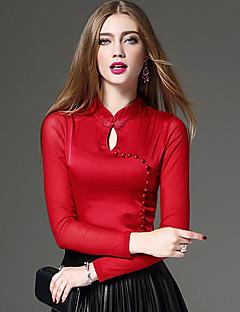 Feminino Camiseta Informal / Casual / Trabalho estilo antigo / Moda de Rua / Temática Asiática Primavera / Outono,Sólido / RetalhosAzul /