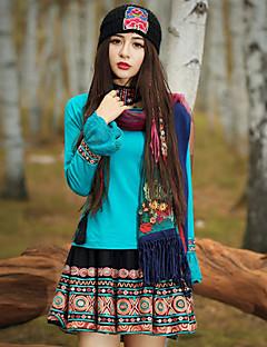 A-linje Nederdele-Dame Trykt mønster Broderi-Vintage Alm. taljede I-byen-tøj Over Knæet Polyester Mikroelastisk Efterår