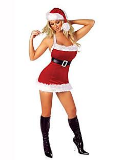 Santa Anzüge Fest/Feiertage Halloween Kostüme Rot / Weiß einfarbig Kleid / Gürtel / Mützen Weihnachten Terylen