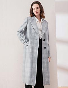 Damen Verziert Retro Ausgehen Mantel,Winter Gekerbtes Revers Langarm Grau Dick Wolle / Acryl / Polyester