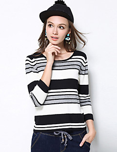 MEIDONGTAI Women's Plus Size / Casual/Daily Simple Fall T-shirtStriped Round Neck Long Sleeve Black Rayon / Spandex Medium