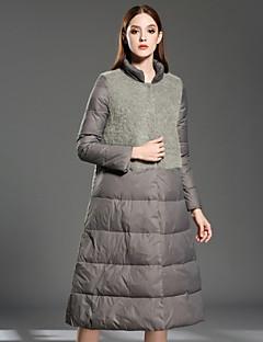 Damen Daunen Mantel,Lang Retro Lässig/Alltäglich Solide-Polyester Weiße Entendaunen Langarm Ständer