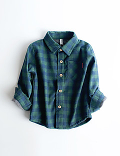 Menino Camisa Casual Xadrez Inverno / Primavera / Outono Algodão Manga Longa Regular