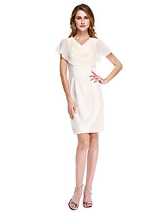 Lanting Bride® Strak/kolom Bruidsmoederjurken - Elegant Tot de knie Mouwloos Chiffon / Kant  -  Plooien